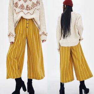 Zara yellow striped wide cropped trousers